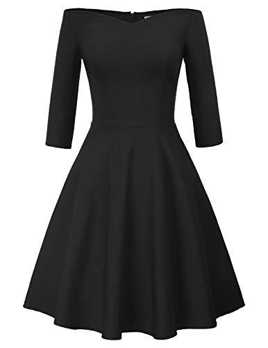 Schulterfreies Kleid Damen cocktailkleid mit ärmel 50er Jahre Swing Kleid CL823-1 M