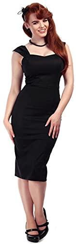Collectif Damen Kleid Jill Vintage Träger Bleistiftkleid Schwarz XS