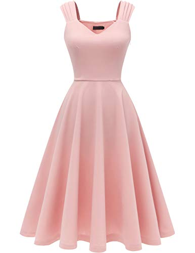 DRESSTELLS cocktailkleid v Ausschnitt Elegante Kleider Festlich Partykleid Petticoat Kleid 50er Jahre Swing Kleid Blush...
