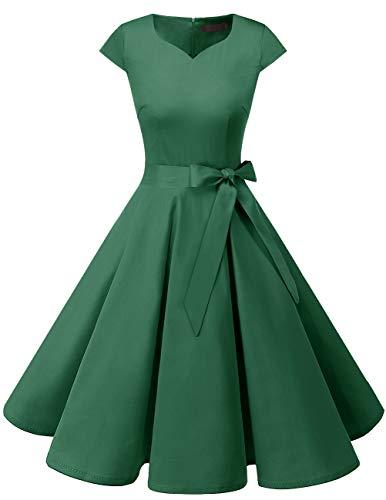 Dresstells Vintage 50er Swing Party kleider Cap Sleeves Rockabilly Retro Hepburn Cocktailkleider Green XS