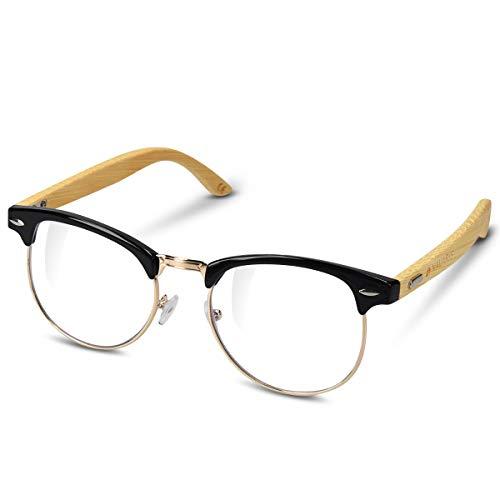 Navaris Retro Brille ohne Sehstärke - Damen Herren 50er Nerd Brille - Anti Blaulicht Computer Brillen - Nerdbrille ohne...