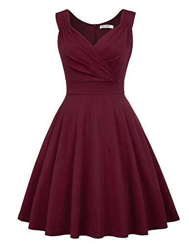 cocktailkleid v Ausschnitt Elegante Kleider Weihnachten Petticoat Kleid 50er Jahre Swing Kleid CL698-2 XL