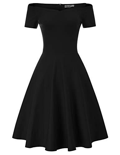 Schulterfreies Kleid Damen cocktailkleid mit ärmel 50er Jahre Swing Kleid CL020-1 M