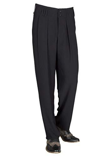 HK Mandel Herren Bundfaltenhose im 50er 60er Jahre Herren Retro Vintage Stil in Schwarz, Model Boogie Größe 54