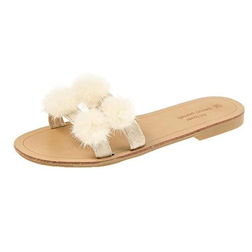 Perferct 50er Jahre Schuhe Damen,Flache KüHle Hausschuhe, Weibliche Kleidung Mode Sommer Haarpelz Gammeln Wear...