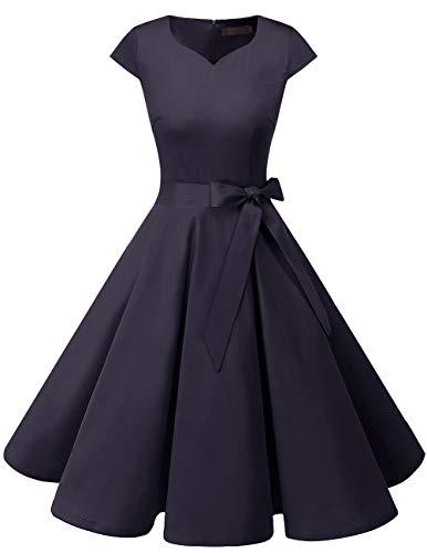 Dresstells Damen Vintage 50er Cap Sleeves Rockabilly Swing Kleider Retro Hepburn Stil Cocktailkleid Navy M