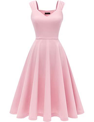 DRESSTELLS Damen 1950er Midi Rockabilly Kleid Vintage V-Ausschnitt Hochzeit Cocktailkleid Faltenrock Pink S
