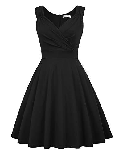 GRACE KARIN Petticoat Kleider a Linie cocktailkleid Damen Festliche Kleider schwarz Partykleider, Cl698-1, S
