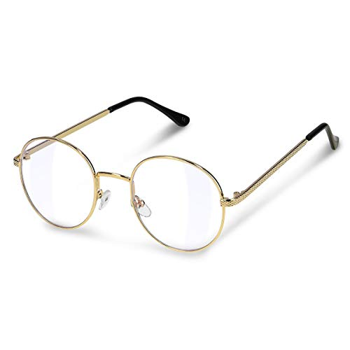 Navaris Retro Brille ohne Sehstärke - Damen Herren Vintage 50er Nerd Brille - Anti Blaulicht Computer Nerdbrille ohne...