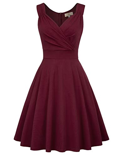 v Ausschnitt cocktailkleid Elegante Kleider Weihnachten Petticoat Kleid 50er Jahre Swing Kleid CL107-1 XS