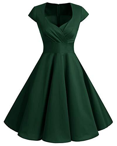 Bbonlinedress 1950er Vintage Retro Cocktailkleid Rockabilly V-Ausschnitt Faltenrock Dark Green M