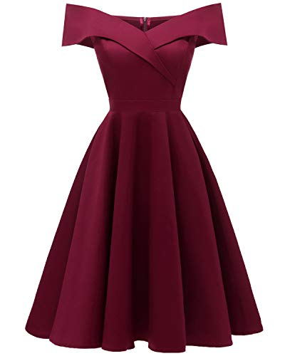 Viloree 50s Rockabilly Damen Kleid Baumwolle Schulterfrei Swing Party festlich Wein S