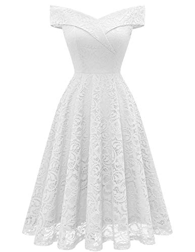 HomRain Damen 50er Jahre Kleider Festliches Spitzenkleid Abendkleider Vintage Ballkleid A-Linie Cocktailkleid -1White XL