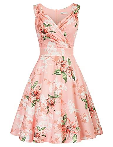 GRACE KARIN 50s Kleid Rockabilly ärmellos blumenkleid Damen Vintage Kleider 50er Jahre blumenkleider CL2811-11 M