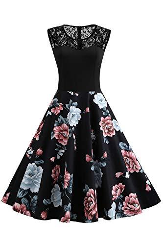Axoe Damen 50er Jahre Rockabilly Kleid mit Blumenmuster Ärmellos, Farbe06, XL (44 EU)