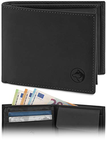 Geldbörse Herren Leder 'Norge' – Tri-Fold Herren-Portemonnaie RFID-Blocker – 6 Karten-Fach, Ausweis-Fach, Großes...
