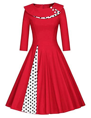 JIER Damen 50er Jahre Vintage Langarm KleidRockabilly Kleid Knielang Festlich Kleid Faltenrock mit Gepunkt Elegant...