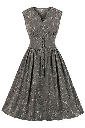 AXOE Damen 50er Jahre Kleid Rockabilly Vintage A Linie Grau, F05, Gr.50, 4XL