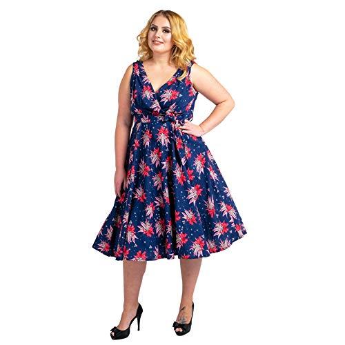 Miss Lavish London Frauen Plus Größe Kleider Retro Swing Blumen Rockabilly 40s und 50er Jahre Vintage Brautjungfer...