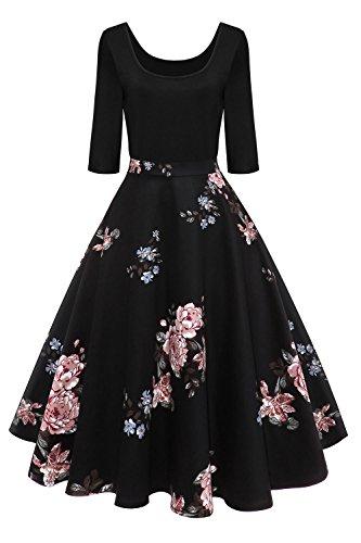 Axoe Damen A-Linie Kleid 60er Jahre Rockabilly mit Blumenrock 3/4 Ärmel Gr.36, Farbe 4, M (38/40 EU)