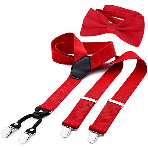 DonDon Herren 3,5 cm breiter Hosenträger in Y-Form elastisch und verstellbar im 2er Set mit farblich passender Fliege...