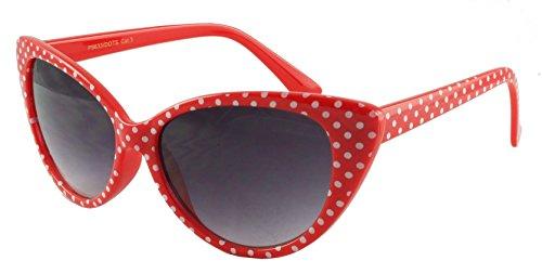 retroUV - Tupfen Katzenauge Frauen Mod Mode Super Cat Sonnenbrille (Rot Weiß-Punkt mit retroUV Beutel)