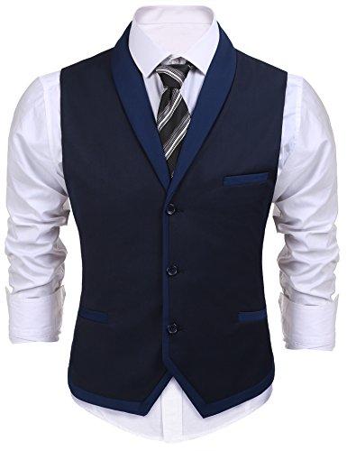 Burlady Herren V-Ausschnitt Ärmellose Westen Slim Fit Weste Anzug Business Anzugweste (EU 50(Hersteller:M), A-Dunkel...