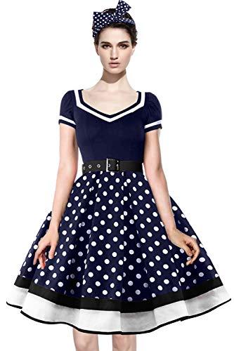 Axoe Damen 50er Jahre Kleider mit 1 Stück Stirnband Gepunktetes Cocktailkleid, Navy, XXXXL (48 EU)