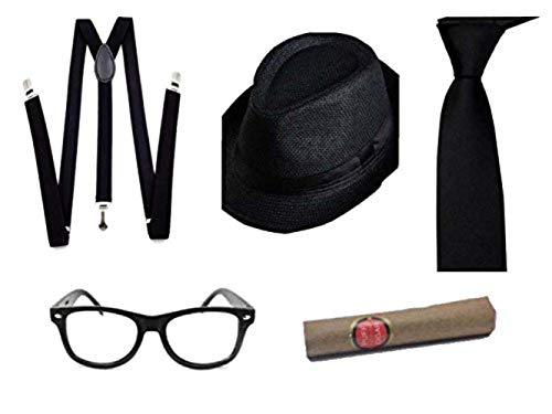 thematys Al Capone Mafia Gangster Hut + Krawatte + Hosenträger + Brille - 20er Jahre Kostüm-Set für Damen & Herren -...