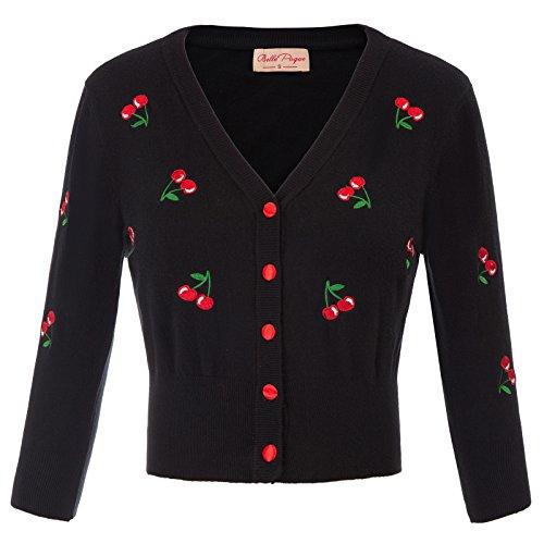 Belle Poque Festliche Bolero Damen schulterzucken schwarz Kirsche Bolero Mode Shrug S BP609-1