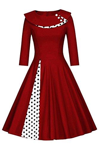 Axoe Damen A-Linie Kleid 50er Jahre Vintage mit Gepunktetes Weinrot Gr.38/40
