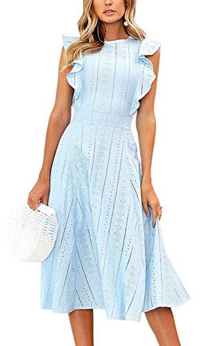 Minetom Spitzenkleid Damen Rundhals Ärmellos Sommerkleider Strandkleider Elegant Spitze Volant A-Linien Kleid...