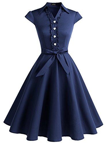 WedTrend Damen 50er Vintage Retro Rockabilly Swing Kleid Kurzer Ärmel Cocktailkleider WTP10007NavyL