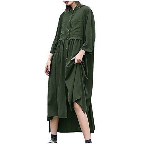 Shineshae Einfarbiges Rundhals-Cardigan-Kleid für Damen,Freizeitkleidung Elegant Tshirt Kleid A-Linie Kleid Swing...