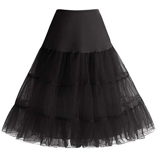 Bbonlinedress Kleider Rock Damen Sommerkleid Damen Petticoat Unterrock Crinoline Underskirt Reifrock Black L