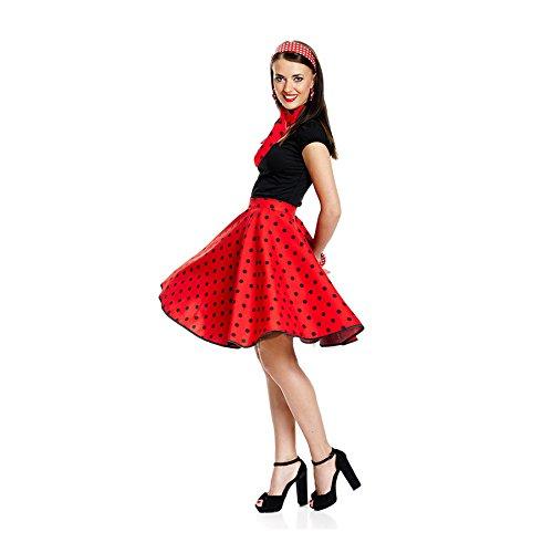 Kostümplanet 50er Jahre Rock-n Roll Rock Damen Kostüm Rockabilly Stil Mode Outfit rot schwarz Gepunkteter Tellerrock...