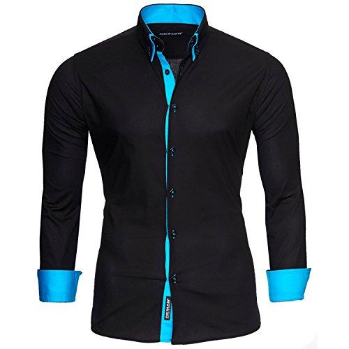 Reslad Hemd Herren bügelleicht Slim Fit Freizeithemd Hemden Business Männer Kontrast Langarmhemd RS-7050 Schwarz...