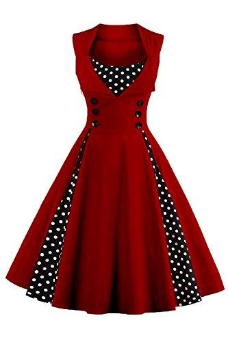Axoe Damen 50er Jahre Cocktailkleid Rockabilly Elegantes Faltenrock Festliches Partykleider Vintage Kleid Audrey Hepburn...