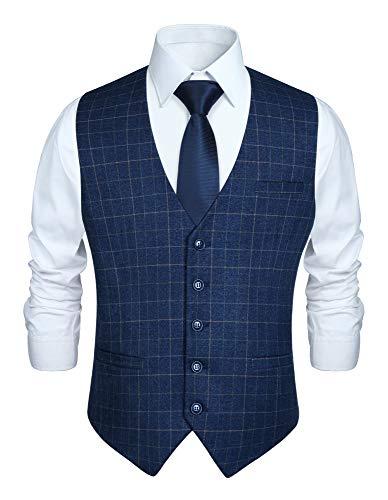 HISDERN Herren formale Hochzeit Party Weste Baumwolle Plaid Check Royal Blue Kleid Anzug Weste