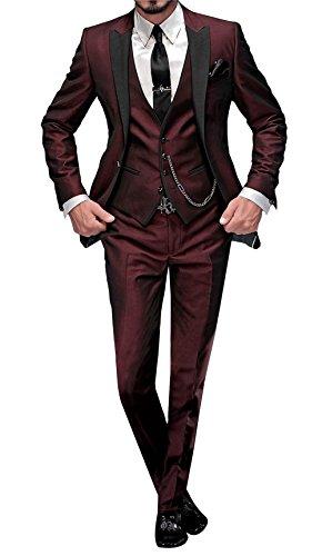 GEORGE BRIDE Herren Anzug 5-Teilig Anzug Sakko,Weste,Anzug Hose,Krawatte,Tasche Platz 002,Burgund L