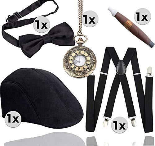 TK Gruppe Timo Klingler 5 in 1 - 20er Accessoires Herren Männer Set für Fasching & Karneval - Verkleidung wie Gatsby,...