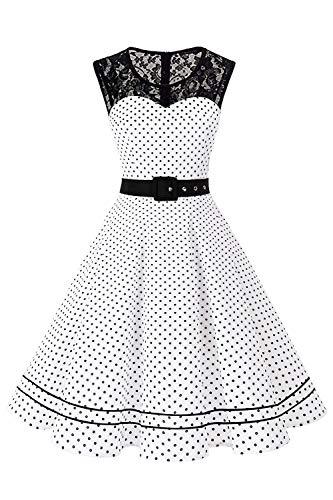 AXOE Damen Polka Dots Kleid 50er Jahre Rockabilly Cocktailkleid Weiß Gepunktetes Gr.38, M