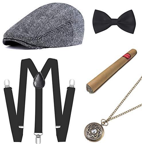 ArtiDeco 1920s Herren Accessoires Mafia Gatsby Kostüm Set inklusive Panama Gangster Hut Verstellbar Elastisch...