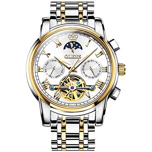 Verhux Automatik Uhr Herren Tourbillon Edelstahl Armband Luxus Skelett Mechanisch Uhren Geschenk für Männer