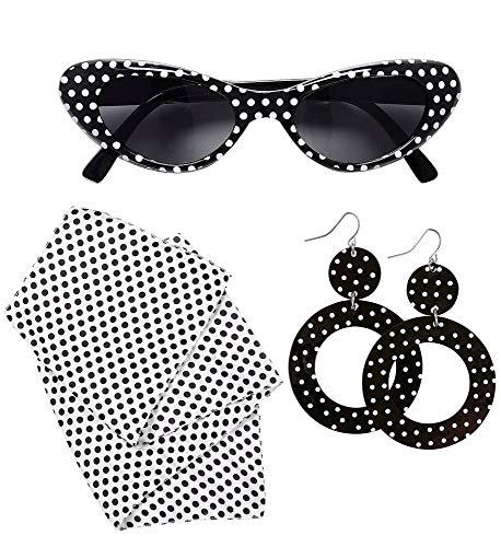 shoperama 50's Lady Kostüm-Zubehör Set 50er Jahre Mod Fünfziger Damen Cat Eye Sonnenbrille Halstuch Ohrringe