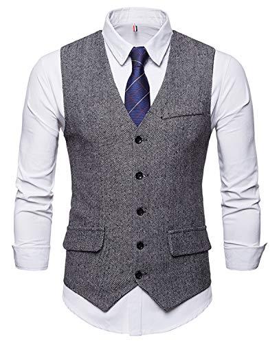 WHATLEES Herren Schmale Tweed Weste mit Zweireihige Knopfleiste, Ba0116-gray, L