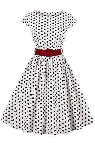 AXOE Damen 50er Jahre Kleid Rockabilly Audrey Hepburn Gepunktetes Partykleid Weiß Gr.36, S