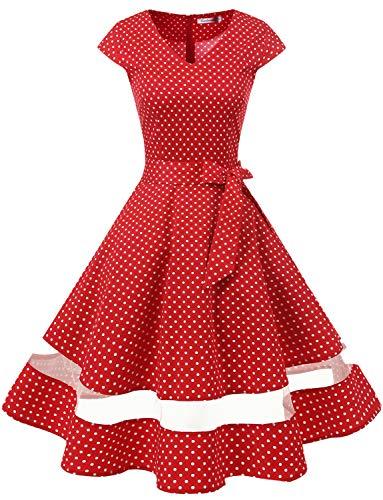 Gardenwed 1950er Vintage Retro Rockabilly Kleider Petticoat Faltenrock Cocktail Festliche Kleider Cap Sleeves Abendkleid...