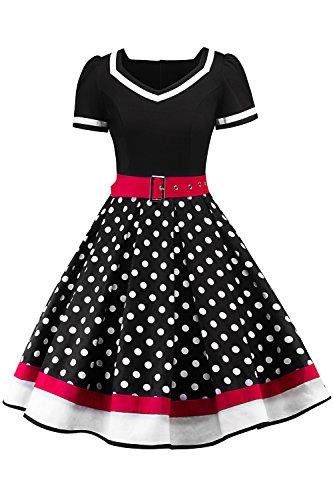 MisShow Damen elegant 50er Jahre Petticoat Kleider Gepunkte Rockabilly Kleider Cocktailkleider, Schwarz, 3XL