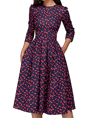JOJJJOJ Damen 50er Jahre Floral Cocktail Vintage Retro Kleider Elegantes Midikleid 3/4 Ärmel (Farbe : RED, Size : M)